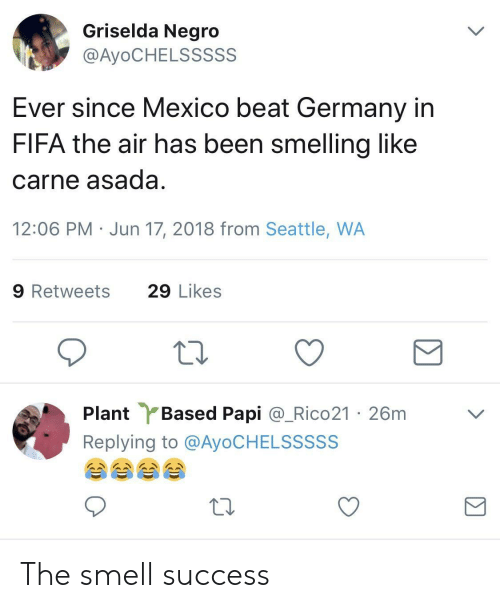 Fifa, Smell, and Germany: Griselda Negro  @AyoCHELSSSSS  Ever since Mexico beat Germany in  FIFA the air has been smelling like  carne asada  12:06 PM Jun 17, 2018 from Seattle, WA  9 Retweets  29 Likes  Plant Based Papi @.Rico21 ·26m  Replying to @AyoCHELSSSSS  ﹀ The smell success
