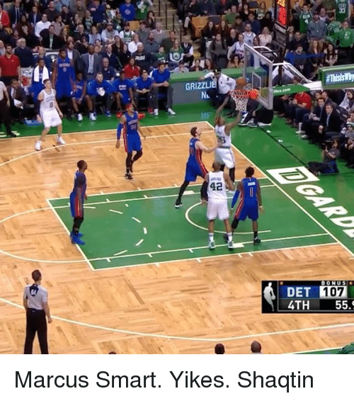 Sports, Grizzly, and Marcus Smart: GRIZZLI  42  BONUS  DET  107  4TH  55. Marcus Smart. Yikes. Shaqtin