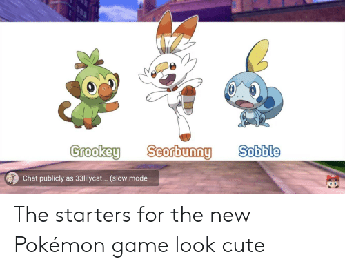 Grookey Scorbunng Sobble Chat Publicly As 33lilycat Slow Mode The Starters For The New Pokemon Game Look Cute Cute Meme On Me Me View 371 nsfw pictures and enjoy cuteasscuterface with the endless random gallery on scrolller.com. meme