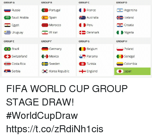 Belgium, England, and Fifa: GROUP a  GROUP B  GROUP C  GROUP D  Russia  Saudi Arabia  Egypt  Argentina  Iceland  Croatia  Nigeria  Portugal  France  Spain  Australia  Morocco  Peru  -Uruguay  IR Iran  Denmark  GROUP E  GROUPF  GROUP G  GROUP H  Brazil  Switzerland  Costa Rica  Germany  Mexico  Sweden  Belgium  Panama  Tunisia  Poland  Senegal  Colombia  Serbi  %, Korea Republic  + England  ● Japan FIFA WORLD CUP GROUP STAGE DRAW!   #WorldCupDraw https://t.co/zRdiNh1cis