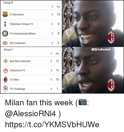 Barcelona, Memes, and FC Barcelona: Group B  P Pts  FC Barcelona  6 14  Tottenham Hotspur FC  FC Internazionale Milano  IH  189  PSV Eindhoven  Group F  OO TrollFootball  P Pts  ч  Real Betis Balompié  6 12  Olympiacos FC  6 10  AC Milan  6 10  l F91 Dudelange  899 Milan fan this week (📷: @AlessioRNl4 ) https://t.co/YKMSVbHUWe