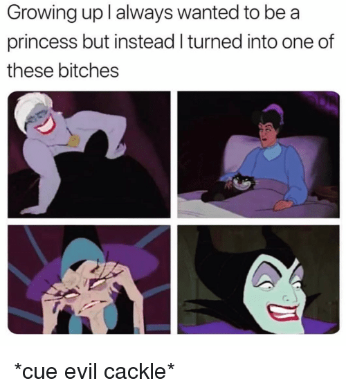 Growing Up, Princess, and Girl Memes: Growing up l always wanted to be a  princess but instead I turned into one of  these bitches *cue evil cackle*