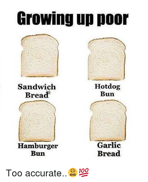 Growing Up, Garlic Bread, and Hood: Growing up poor  Sandwich  Bread  Hotdog  Bun  Hamburger  Bun  Garlic  Bread Too accurate..😩💯