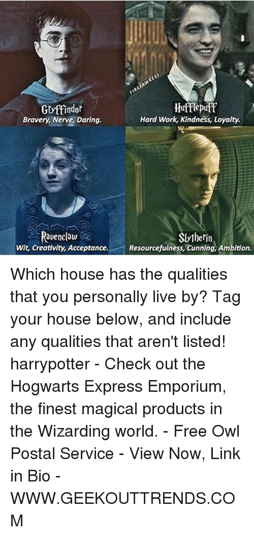 Memes, Slytherin, and Work: Gryttindor  Hufflepuff  Hard Work, Kindness, Loyalty.  Bravery, Nerve, Daring.  Ravenclaw  Slytherin  Wit, Creativity, Acceptance  Resourcefulness, Cunning, Ambition. Which house has the qualities that you personally live by? Tag your house below, and include any qualities that aren't listed! harrypotter - Check out the Hogwarts Express Emporium, the finest magical products in the Wizarding world. - Free Owl Postal Service - View Now, Link in Bio - WWW.GEEKOUTTRENDS.COM