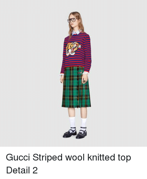1f455e04f1 Gucci Striped Wool Knitted Top Detail 2