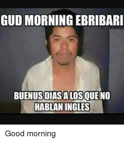 Memes, Good Morning, and 🤖: GUD MORNING EBRIBARI  DIASALOSQUE  NO  HABLAN INGLES Good morning