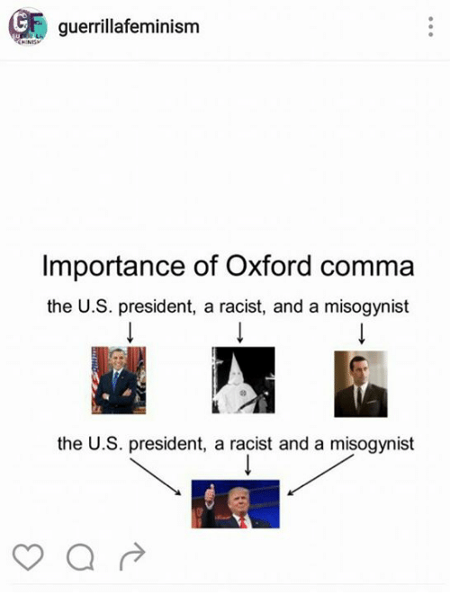 Guerrillafeminism Importance Of Oxford Comma The Us