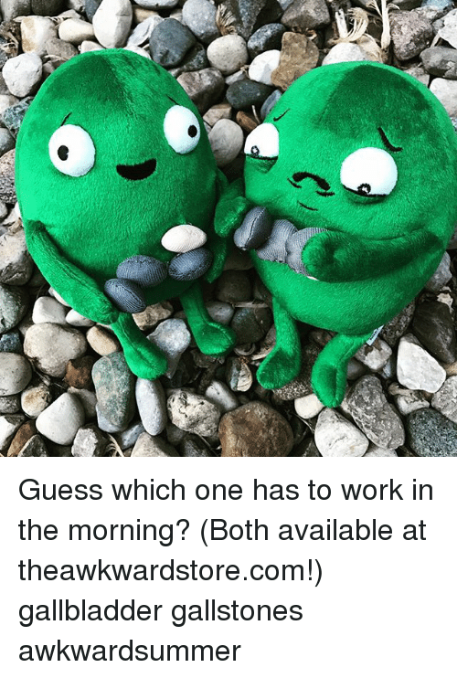 Memes, Work, and Guess: Guess which one has to work in the morning? (Both available at theawkwardstore.com!) gallbladder gallstones awkwardsummer