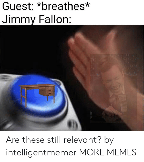 Dank, Jimmy Fallon, and Memes: Guest: *breathes*  Jimmy Fallon: Are these still relevant? by intelligentmemer MORE MEMES