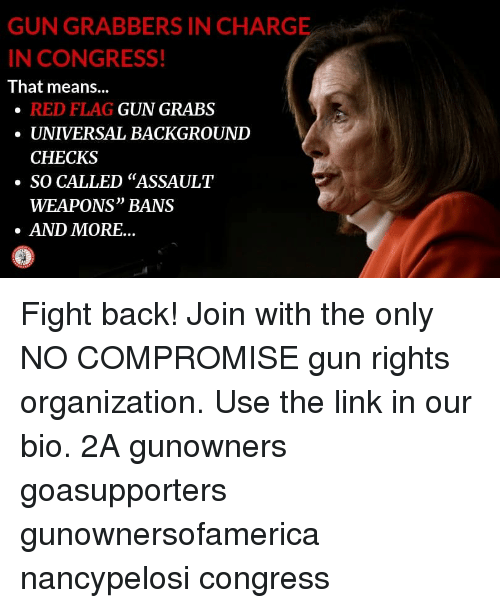 """Memes, Link, and Fight: GUN GRABBERS IN CHARGE  N CONGRESS!  That means...  RED FLAG  UNIVERSAL BACKGROUND  CHECKS  GUN GRABS  ·SO CALLED """"ASSAULT  WEAPONS"""" BANS  AND MORE... Fight back! Join with the only NO COMPROMISE gun rights organization. Use the link in our bio. 2A gunowners goasupporters gunownersofamerica nancypelosi congress"""