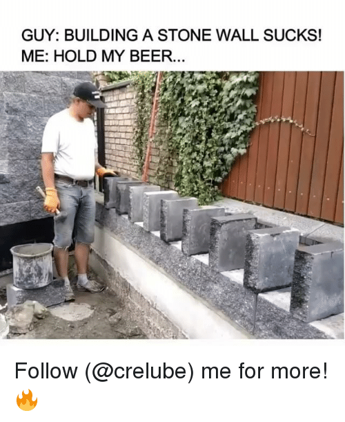 Beer, Memes, and 🤖: GUY: BUILDING A STONE WALL SUCKS!  ME: HOLD MY BEER... Follow (@crelube) me for more! 🔥