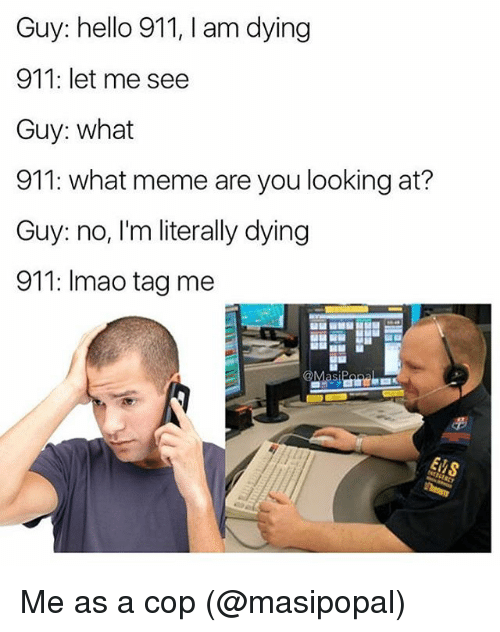 Hello, Lmao, and Meme: Guy: hello 911, l am dying  911: let me see  Guy: what  911: what meme are you looking at?  Guy: no, I'm literally dying  911: lmao tag me  @Masi Me as a cop (@masipopal)