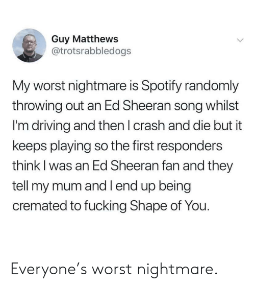 Driving, Ed Sheeran, and Spotify: Guy Matthews  @trotsrabbledogs  My worst nightmare is Spotify randomly  throwing out an Ed Sheeran song whilst  I'm driving and then I crash and die but it  keeps playing so the first responders  think I was an Ed Sheeran fan and they  tell my mum and l end up being  cremated to fucking Shape of You. Everyone's worst nightmare.