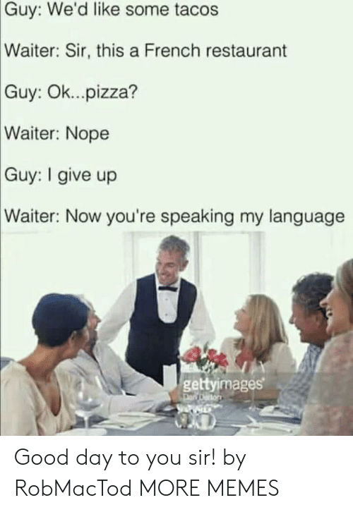 Dank, Memes, and Pizza: Guy: We'd like some tacos  Waiter: Sir, this a French restaurant  Ok... pizza?  Guy:  Waiter: Nope  Guy: I give up  Waiter: Now you're speaking my language  gettyimages Good day to you sir! by RobMacTod MORE MEMES
