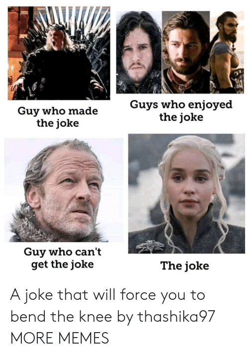 Dank, Memes, and Target: Guy who made  the joke  Guys who enjoyed  the joke  Guy who can't  get the joke  The joke A joke that will force you to bend the knee by thashika97 MORE MEMES