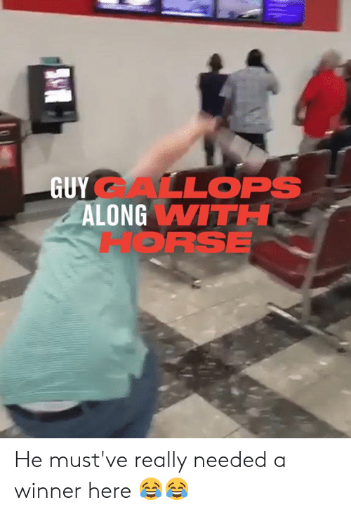 Dank, Horse, and 🤖: GUYALLOPS  ALONG WITH  HORSE He must've really needed a winner here 😂😂