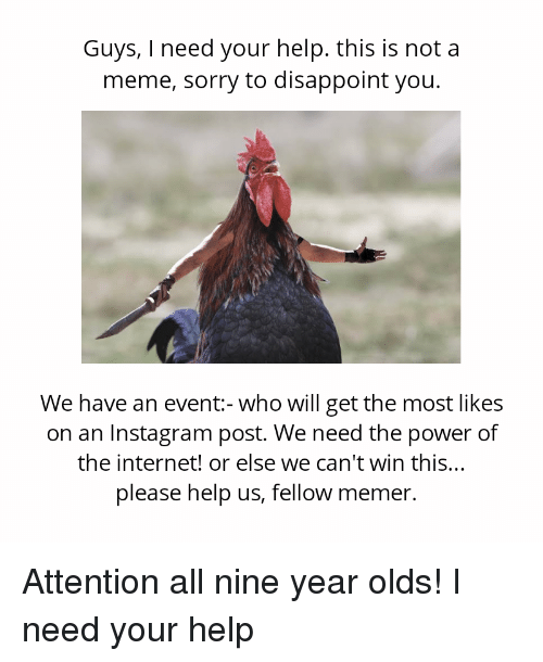 Instagram, Internet, and Meme: Guys, I need your help. this is not a  meme, sorry to disappoint you.  We have an event:-who will get the most likes  on an Instagram post. We need the power of  the internet! or else we can't win this.  please help us, fellow memer. Attention all nine year olds! I need your help