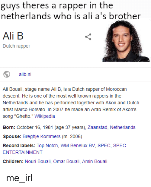 Guys Theres a Rapper in the Netherlands Who Is Ali A's