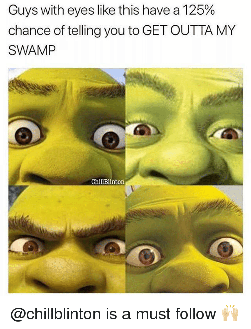 Memes, Outta, and 🤖: Guys with eyes like this have a 125%  chance of telling you to GET OUTTA MY  SWAMP  ChillBlinton @chillblinton is a must follow 🙌🏼