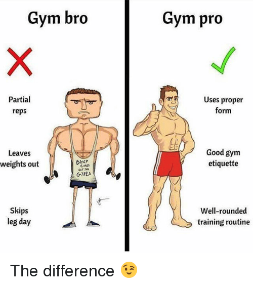 Girls, Gym, and Memes: Gym bro  Gym pro  Partial  reps  Uses proper  form  Good gym  etiquette  Leaves  weights out  CALS  4T TN  GIRLS  Skips  leg day  Well-rounded  training routine The difference 😉