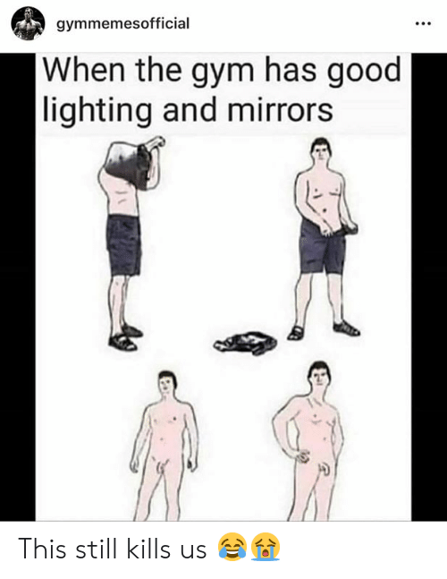Gym, Good, and Mirrors: gymmemesofficial  When the gym has good  lighting and mirrors This still kills us 😂😭