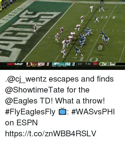 Philadelphia Eagles, Espn, and Memes: H  1ST 7:41 01 2ND& Gaal .@cj_wentz escapes and finds @ShowtimeTate for the @Eagles TD!  What a throw! #FlyEaglesFly  📺: #WASvsPHI on ESPN https://t.co/znWBB4RSLV