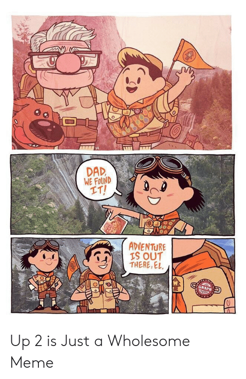 Dad, Meme, and Wholesome: H  DAD  WE FOUND  IT!  ADVENTURE  IS OUT  THERE, EL  GRAPE Up 2 is Just a Wholesome Meme