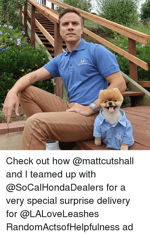 Memes, 🤖, and How: (H)  NDA Check out how @mattcutshall and I teamed up with @SoCalHondaDealers for a very special surprise delivery for @LALoveLeashes RandomActsofHelpfulness ad