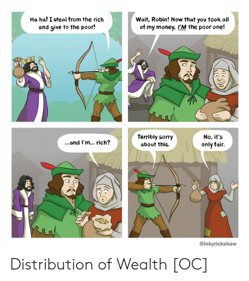Money, Sorry, and Robin: Ha ha! I steal from the rich  and give to the poor!  Wait, Robin! Now that yov took all  of my money, I'M the poor one!  Terribly sorry  about this.  No, it's  only fair.  ...and I'm... rich?  @inkyrickshaw Distribution of Wealth [OC]