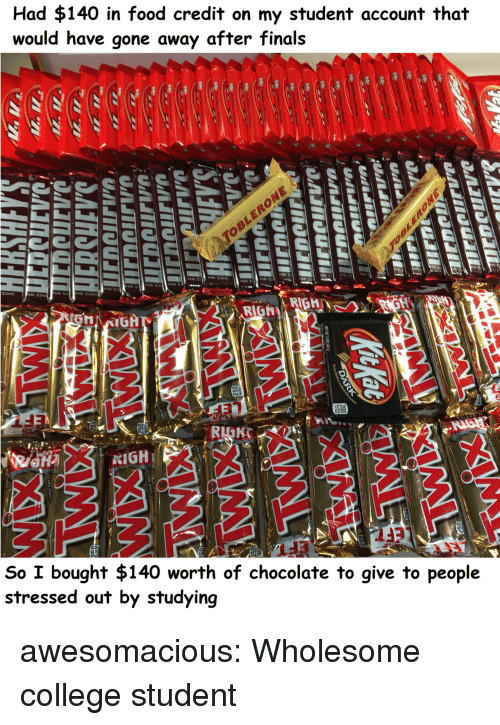 College, Finals, and Food: Had $140 in food credit on my student account that  would have gone away after finals  0  P681  6813  RIGRIGH  So I bought $140 worth of chocolate to give to people  stressed out by studying awesomacious:  Wholesome college student