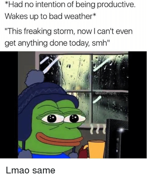 "Bad, Lmao, and Memes: *Had no intention of being productive.  Wakes up to bad weather  ""This freaking storm, now l can't even  get anything done today smh""  as Popa Lmao same"