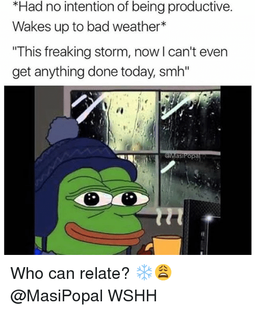 """Bad, Memes, and Smh: *Had no intention of being productive.  Wakes up to bad weather*  This freaking storm  get anything done today, smh""""  , now I can't even  asiPopa Who can relate? ❄️😩 @MasiPopal WSHH"""