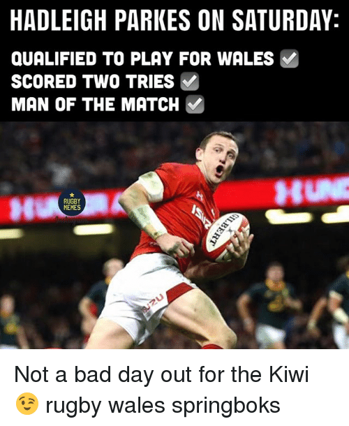 Bad, Bad Day, and Memes: HADLEIGH PARKES ON SATURDAY:  QUALIFIED TO PLAY FOR WALES  SCORED TWO TRIES  MAN OF THE MATCH  RUGBY  MEMES Not a bad day out for the Kiwi 😉 rugby wales springboks