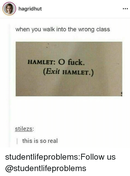 Hamlet, Tumblr, and Blog: hagridhut  when you walk into the wrong class  HAMLET: O fuck.  (Exit HAMLET.)  stilezs:  this is so real studentlifeproblems:Follow us @studentlifeproblems​