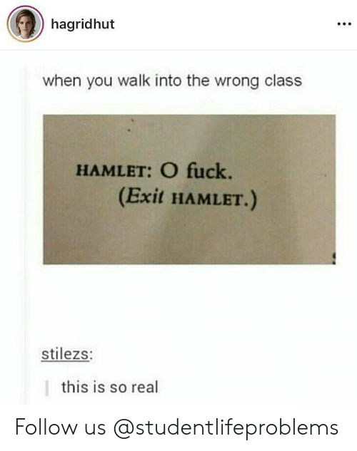 Hamlet, Tumblr, and Fuck: hagridhut  when you walk into the wrong class  HAMLET: O fuck.  (Exit HAMLET.)  stilezs:  this is so real Follow us @studentlifeproblems