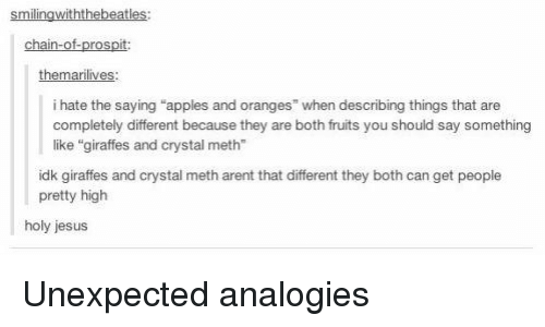apples and oranges saying