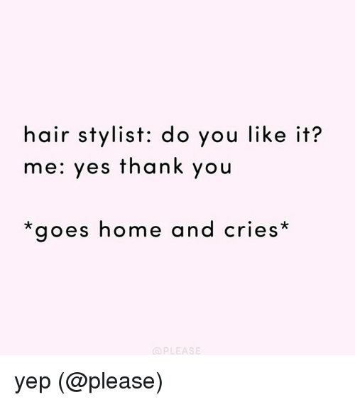 Memes, Thank You, and Hair: hair stylist: do you like it?  me: yes thank you  goes home and cries  PLEASE yep (@please)