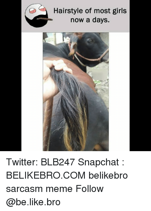 Be Like, Girls, and Meme: Hairstyle of most girls  now a days. Twitter: BLB247 Snapchat : BELIKEBRO.COM belikebro sarcasm meme Follow @be.like.bro