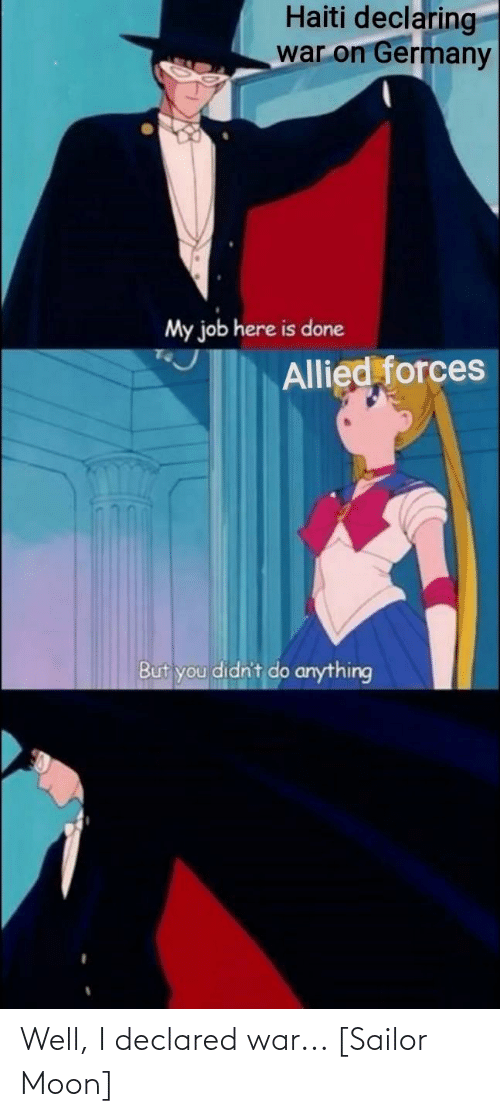 Sailor Moon, Germany, and Haiti: Haiti declaring  war on Germany  My job here is done  Allied forces  But you didn't do anything Well, I declared war... [Sailor Moon]