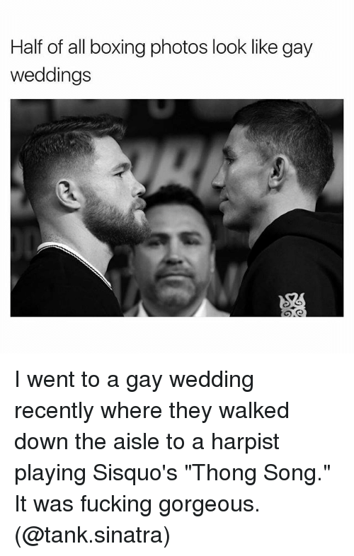 "Boxing, Fucking, and Memes: Half of all boxing photos look like gay  weddings I went to a gay wedding recently where they walked down the aisle to a harpist playing Sisquo's ""Thong Song."" It was fucking gorgeous. (@tank.sinatra)"