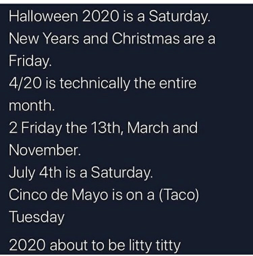 Halloween 2020 Is A Saturday New Years And Christmas Are A Friday