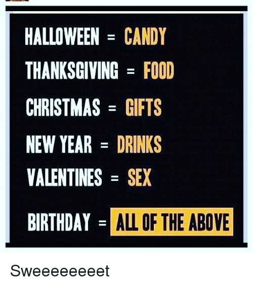 Birthday, Candy, and Christmas: HALLOWEEN  CANDY  THANKSGIVING FOOD  CHRISTMAS  GIFTS  NEW YEAR  DRINKS  VALENTINES  SEX  BIRTHDAY  ALL OF THE ABOVE Sweeeeeeeet