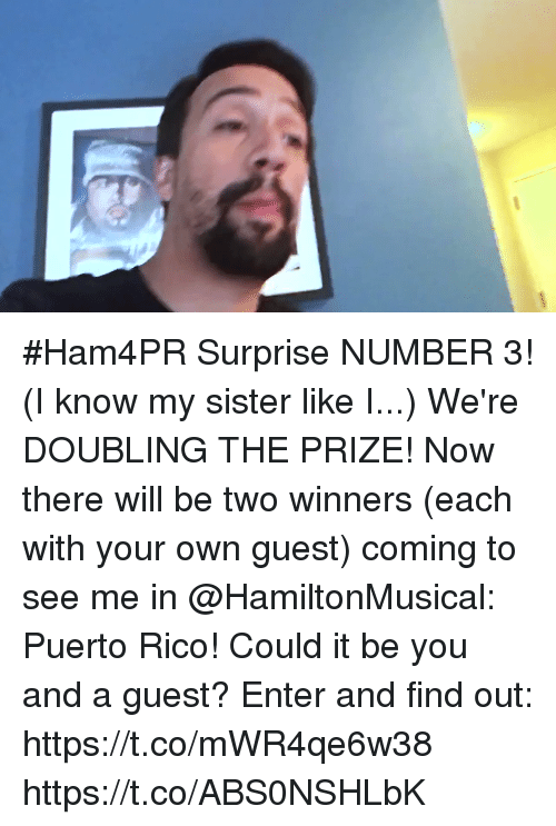 Memes, Puerto Rico, and 🤖: #Ham4PR Surprise NUMBER 3! (I know my sister like I...) We're DOUBLING THE PRIZE! Now there will be two winners (each with your own guest) coming to see me in @HamiltonMusical: Puerto Rico!  Could it be you and a guest? Enter and find out: https://t.co/mWR4qe6w38 https://t.co/ABS0NSHLbK