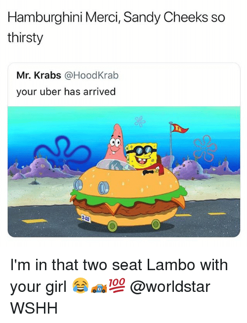 Memes, Mr. Krabs, and Sandy Cheeks: Hamburghini Merci, Sandy Cheeks so  thirsty  Mr. Krabs @HoodKrab  your uber has arrived I'm in that two seat Lambo with your girl 😂🏎💯 @worldstar WSHH