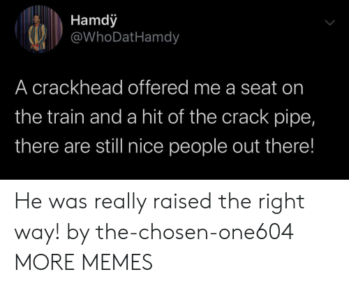 Crackhead, Dank, and Memes: Hamdy  @WhoDatHamdy  A crackhead offered me a seat on  the train and a hit of the crack pipe,  there are still nice people out there! He was really raised the right way! by the-chosen-one604 MORE MEMES