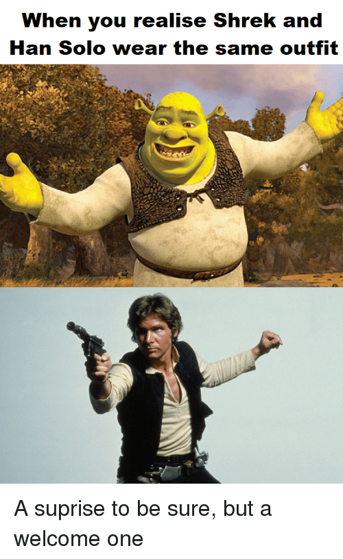han solo and shrek have the same outfit
