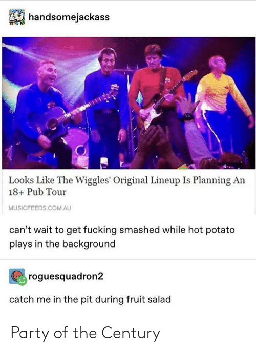 Party, Potato, and The Wiggles: handsomejackass  Looks Like The Wiggles' Original Lineup Is Planning An  18+ Pub Tour  MUSICFEEDS.COM.AU  can't wait to get fucking smashed while hot potato  plays in the background  roguesquadron2  catch me in the pit during fruit salad Party of the Century