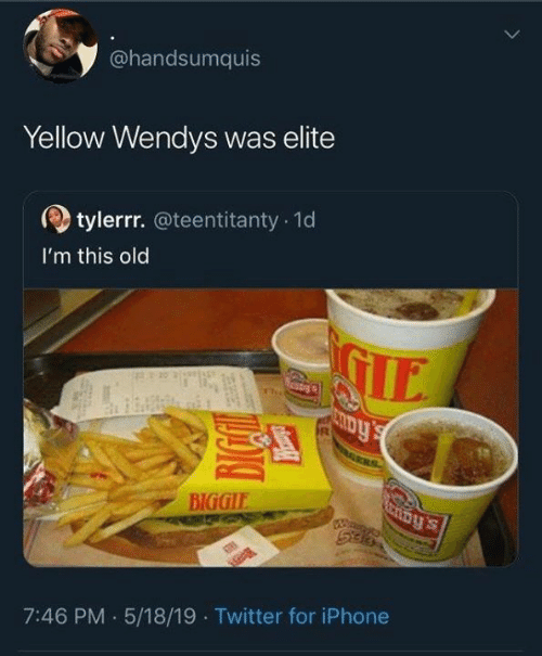 Dank, Iphone, and Twitter: @handsumquis  Yellow Wendys was elite  tylerrr.@teentitanty 1d  I'm this old  IE  BIGGIE  7:46 PM .5/18/19 Twitter for iPhone