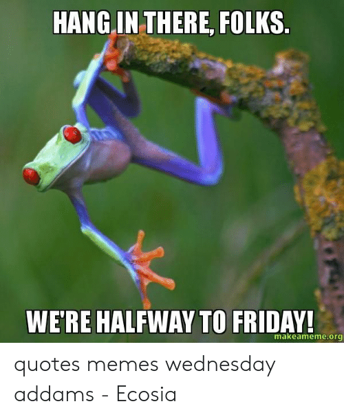 HANG IN THERE FOLKS WE\'RE HALFWAY TO FRIDAY! Makeamemeorg ...