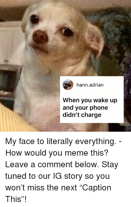 "Meme, Memes, and Phone: hann.adrian  When you wake up  and your phone  didn't charge My face to literally everything. - How would you meme this? Leave a comment below. Stay tuned to our IG story so you won't miss the next ""Caption This""!"